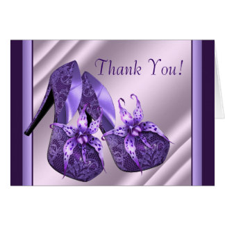 Purple High Heel Shoes Thank You Cards