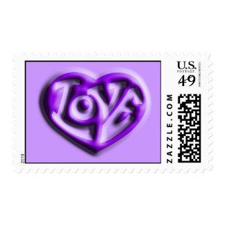 Purple Hippie Love Heart Postage Stamp