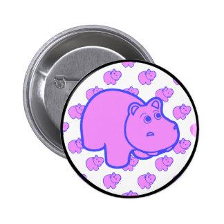 Purple Hippo 2 Inch Round Button