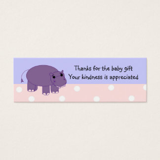 Purple Hippo Baby Gift Thank You Mini Business Card