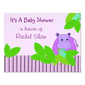 "Purple Hippo Baby Shower Invitation 4.25"" X 5.5"" Invitation Card"