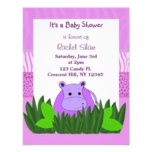 purple hippo baby shower invitation x 5 5 invitation card