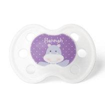 Purple Hippo Ballerina baby girl's pacifier