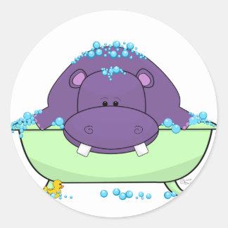 Purple_Hippo_Bath.png Classic Round Sticker