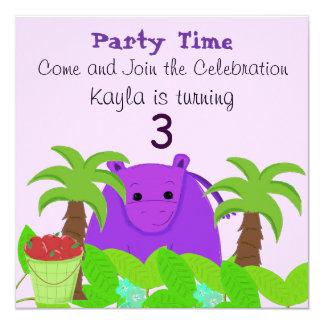 """Purple Hippo Birthday Invitation 5.25"""" Square Invitation Card"""