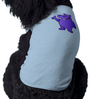 purple hippo cartoon tee