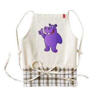 purple hippo cartoon zazzle HEART apron