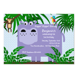 Purple Hippo Childs Birthday Invitation