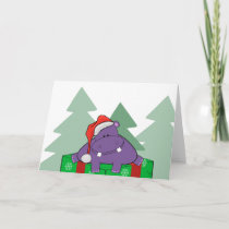 Purple Hippo Christmas Card