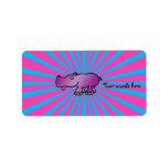 Purple hippo on pink sunburst custom address label