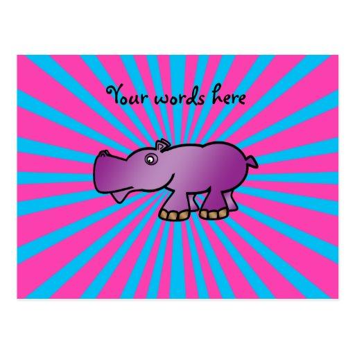 Purple hippo on pink sunburst postcard
