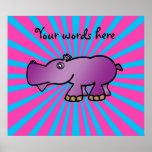 Purple hippo on pink sunburst poster