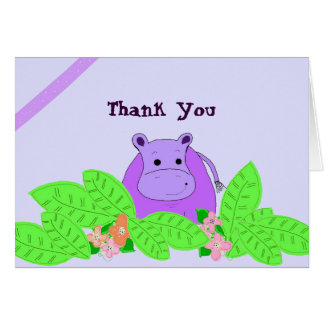 Purple Hippo Thank You Greeting Cards