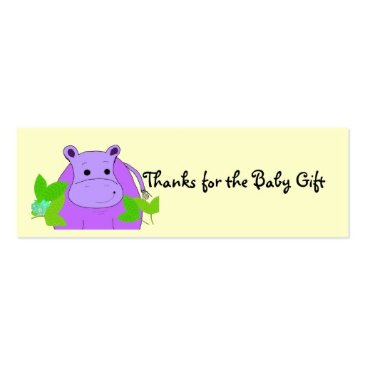 Purple Hippo Thanks for the Baby Gift Business Card Template