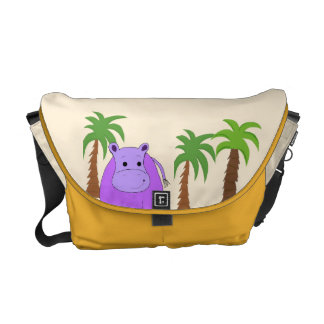 Purple Hippo with Palm Trees Courier Bags