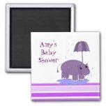 Purple Hippopotamus Baby Shower 2 Inch Square Magnet