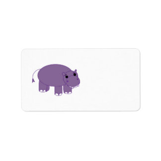 Purple Hippopotamus Label