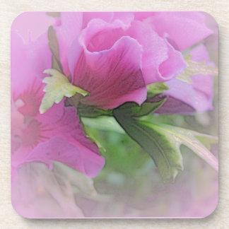 Purple hisbiscus flowers beverage coaster