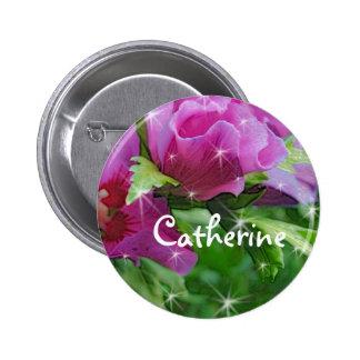 Purple hisbiscus flowers 2 inch round button
