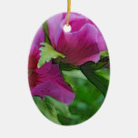 Purple hisbiscus flowers christmas tree ornaments