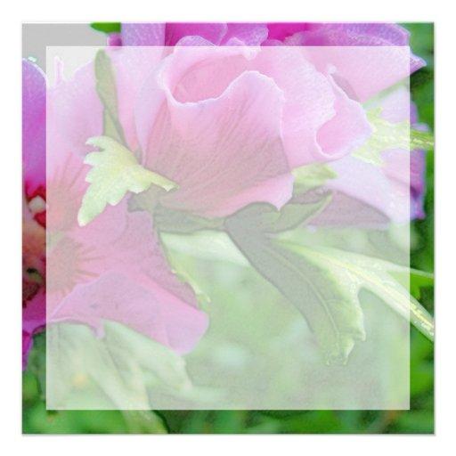 Purple hisbiscus flowers custom invites