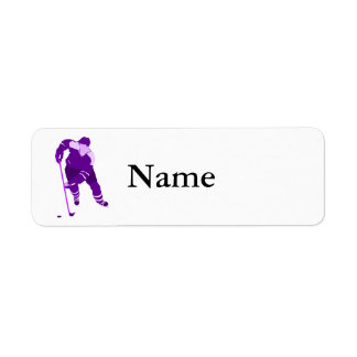 Purple Hockey Logo Return Address Label