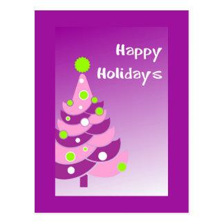 Purple Holiday Tree Postcard