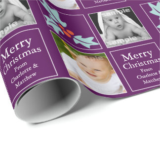 Purple Holly Berry Christmas Personalized Wrapping Paper