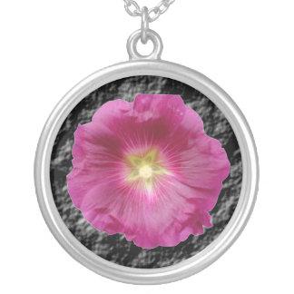 Purple Hollyhock Floral Necklace