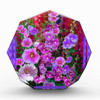 Purple Hollyhocks Checkered Gifts by Sharles Awards