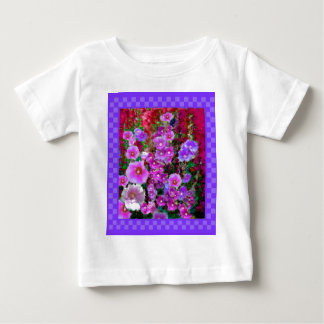 Purple Hollyhocks Checkered Gifts by Sharles Baby T-Shirt