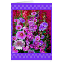 Purple Hollyhocks Checkered Gifts by Sharles Card