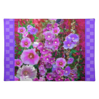 Purple Hollyhocks Checkered Gifts by Sharles Place Mats