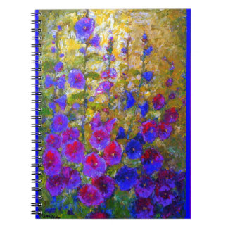 Purple Hollyhocks Garden By Sharles Spiral Notebook