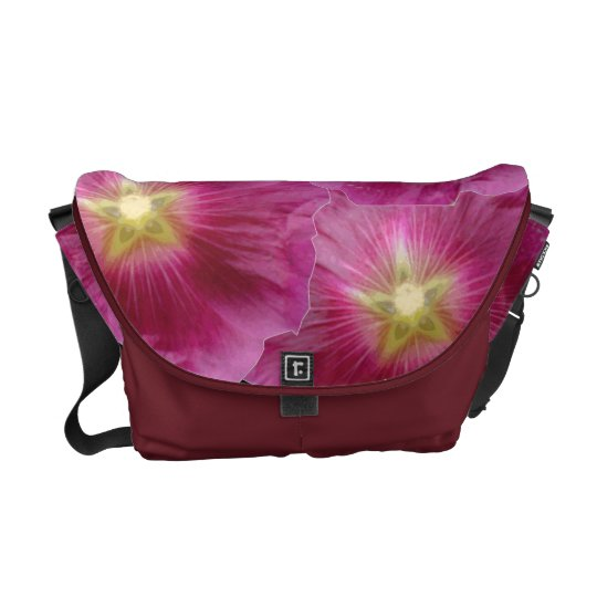 Purple Hollyhocks Messenger Bag