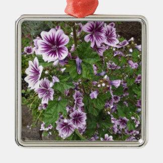 Purple Hollyhocks Square Metal Christmas Ornament
