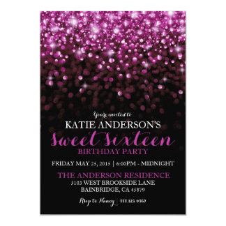 "Purple Hollywood Glitter Sweet Sixteen Party 5"" X 7"" Invitation Card"