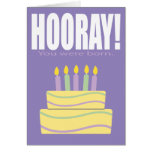Purple Hooray You Were Born Funny Birthday Card