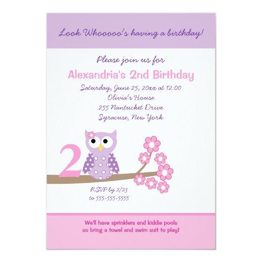 Purple Hoot Owl Girl Birthday Invitation (Any Age)