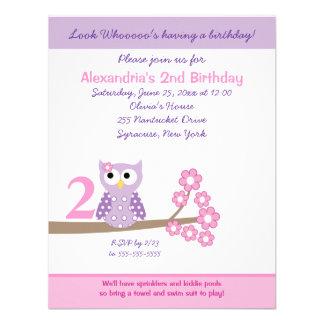 Purple Hoot Owl Girl Birthday Invite 4 25 x 5 5 Invitations