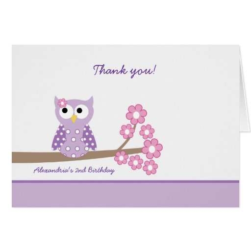 Purple Hoot Owl Girl Birthday Thank you Purple Stationery Note Card