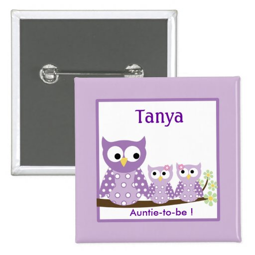 Purple Hoot Owls Baby Shower Name Tag Button