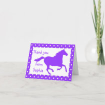 Purple Horse Birthday Thank You Note Card