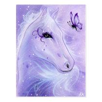 purple horse butterfly postcard