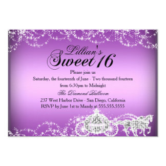 Purple Horse Carriage Princess Sweet 16 Invite