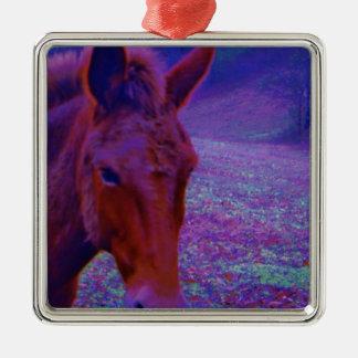 Purple Horse close-up, IN A RAINBOW PURPLE FIELD Metal Ornament