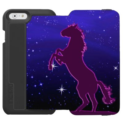 Purple horse in front of the stars iPhone 6/6S wallet case