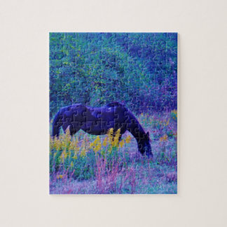 Purple Horse in Rainbow field Jigsaw Puzzles