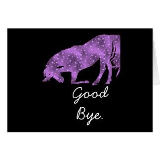 Purple Horse On Black Silhouette Good Bye Card