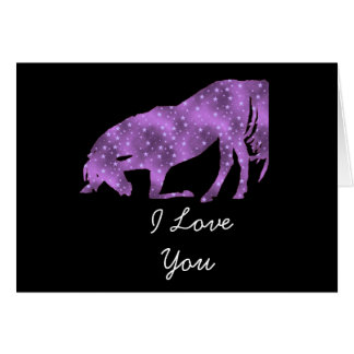Purple Horse On Black Silhouette I Love You Card